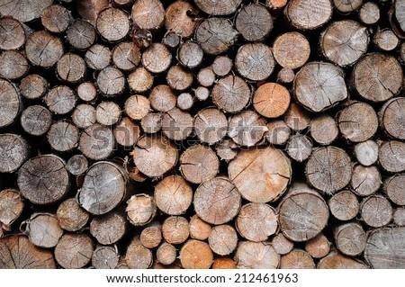 Pile of spruce wood - stock photo