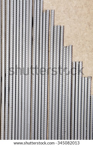 pile of steel rebar used in civil construction - stock photo