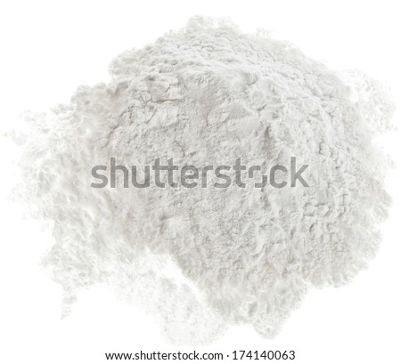 Pile of strach powder surface top view close up  isolated on white background - stock photo