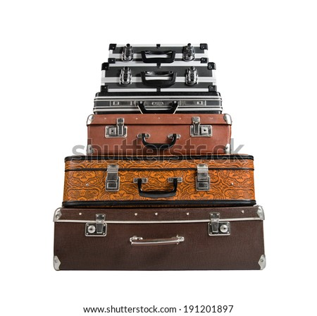 pile of  suitcase in the lying position, on white background; isolated - stock photo