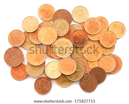 pile of Thailand coins - stock photo
