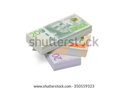 Pile of the new Swedish twenty, fifty and two hundred crowns banknotes. These banknotes were introduced in late 2015. - stock photo