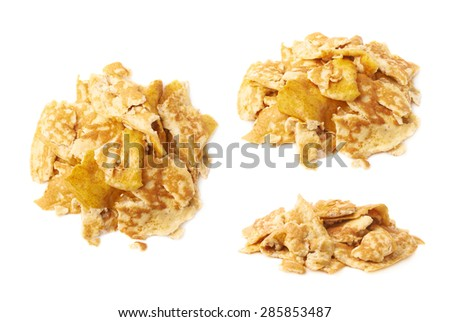 Pile of the scrambled eggs omelette isolated over the white background, set of three different foreshortenings - stock photo