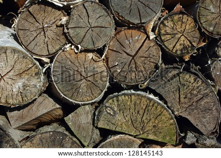 Pile of the stacked birch firewood as background - stock photo
