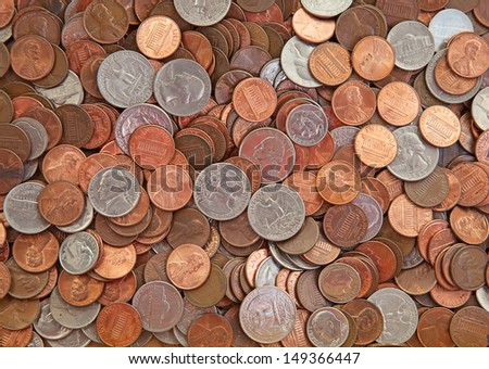 Pile of the US coins - stock photo
