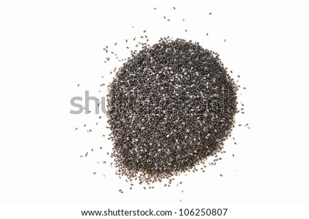 Pile of tiny chia seeds isolated on white background - stock photo