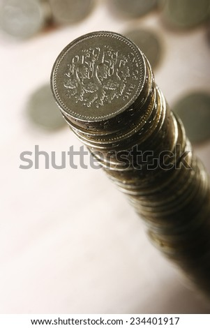 Pile of UK pound coins - stock photo