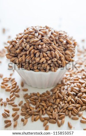 Pile of uncooked raw spelt in a small bowl - stock photo