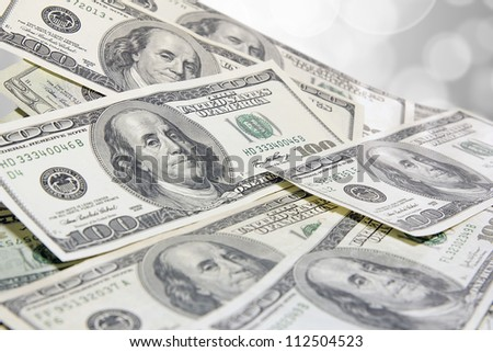 Pile of United States of America One Hundred Dollar Bills Background - stock photo