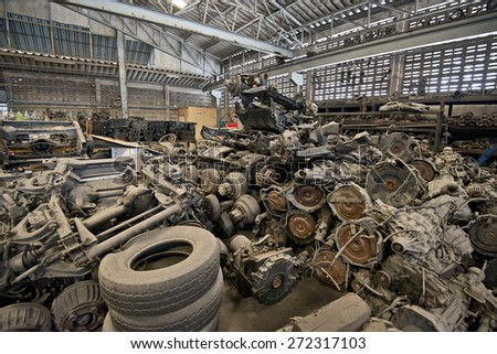 Pile of used auto parts. - stock photo