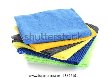 Pile of various multicolor microfibre cloths - stock photo