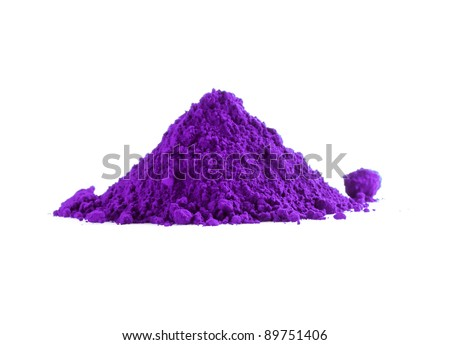 Pile of violet powder isolated on white - stock photo