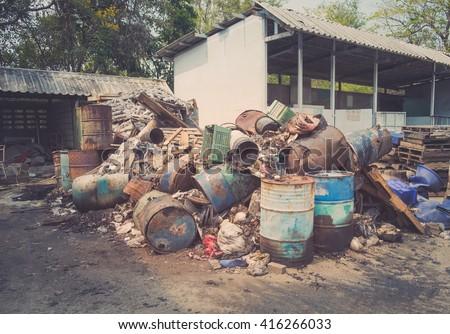 Pile of waste, Junk pile, Garbage removal hazardous waste - stock photo