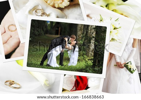 pile of wedding photos - stock photo