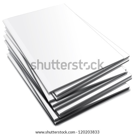 Pile of white notebooks - stock photo