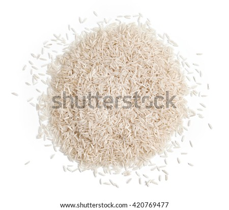 Pile of white rice on white background. Close up, top view, high resolution product. - stock photo