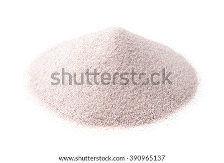 Pile of white silica sand isolated on white - stock photo