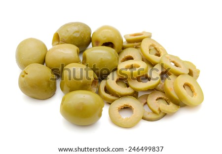 pile of whole and sliced green olives isolated on the white background - stock photo