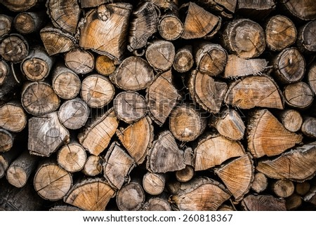 Pile of Wood Background. Pile of Cut Wood Stump Log. Wooden Backdrop - stock photo