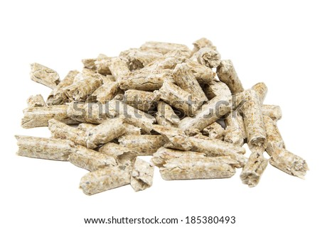 Pile of wood pellets isolated on white background - stock photo