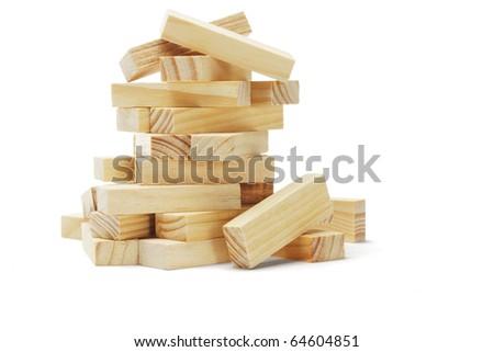Pile of wooden blocks on white background - stock photo