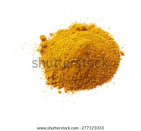 Pile of yellow curry powder isolated over the white background - stock photo