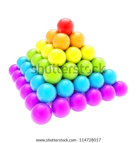 Pile pyramid of colorful rainbow colored glossy spheres isolated on white background - stock photo