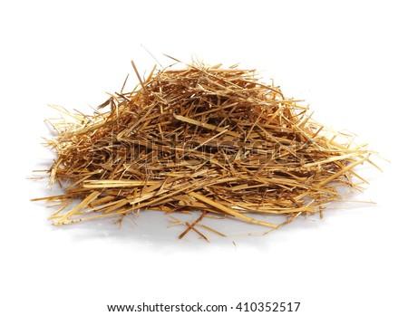 pile straw isolated on white background - stock photo