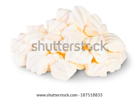 Pile The Spiral Marshmallows Isolated On White Background - stock photo