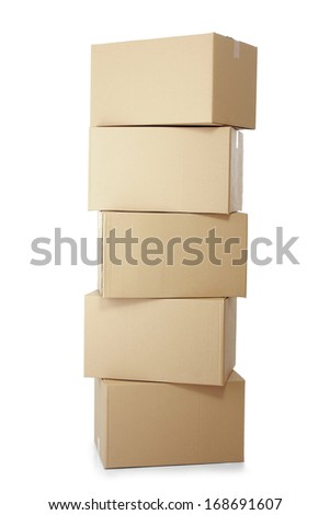 piles of cardboard boxes on a white background - stock photo