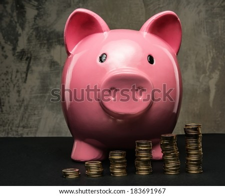 Piles of coins in front of piggybank - stock photo