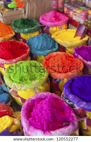 Piles of colored powder for Indian festival Holi. - stock photo