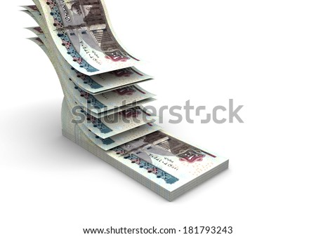 piles of 3D egyptian money falling and stacking in top of each other isolated on white background - stock photo