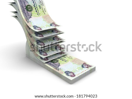 piles of 3D Emirati money falling and stacking in top of each other isolated on white background - stock photo