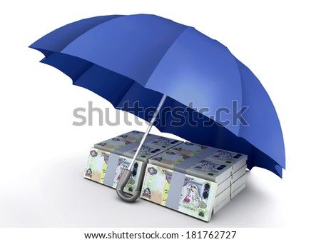 piles of 3d Emirati  money under blue umbrella isolated on white background - stock photo