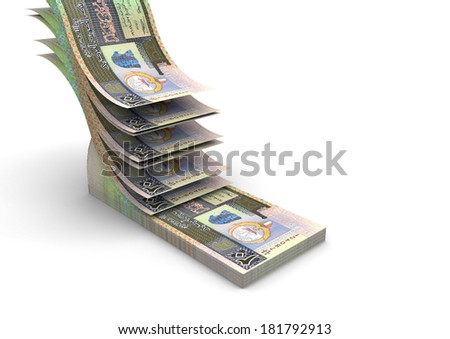 piles of 3D kuwaiti money falling and stacking in top of each other isolated on white background - stock photo