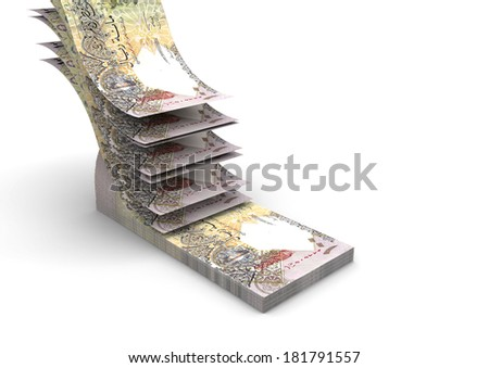 piles of 3D Qatari money falling and stacking in top of each other isolated on white background - stock photo