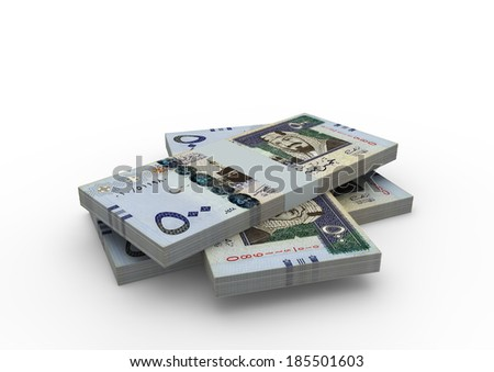 Piles of 3D Saudi money isolated on white background - stock photo