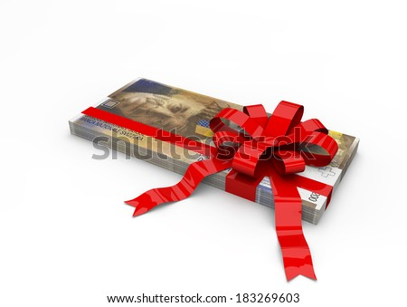 Piles of 3D swiss wrapped money with red ribbon isolated on white background - stock photo