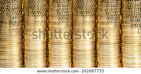 piles of golden coins as a background - stock photo
