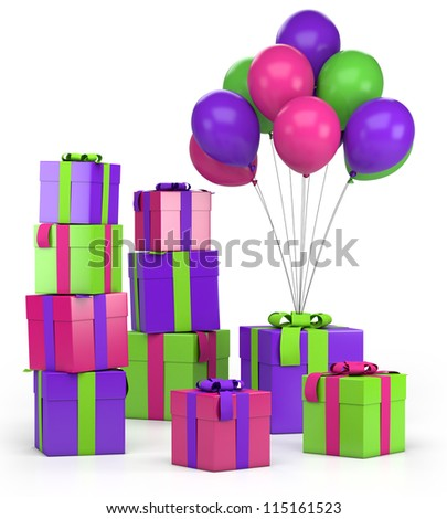 piles of presents and balloons - high quality 3d illustration - stock photo