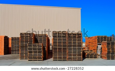Piles of Wooden Shipping Pallets - stock photo