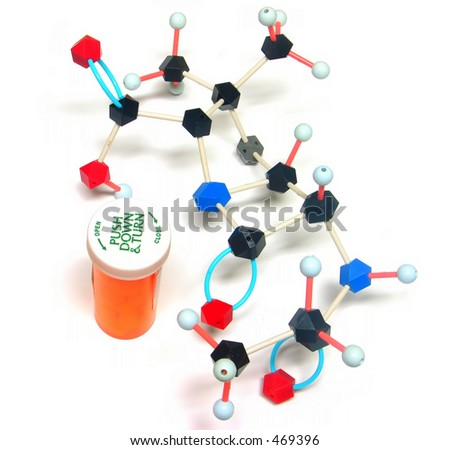 pill bottle and partial structure of penicillin - stock photo