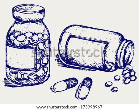 Pill bottle. Spilling pills on to surface. Doodle style. Raster version - stock photo