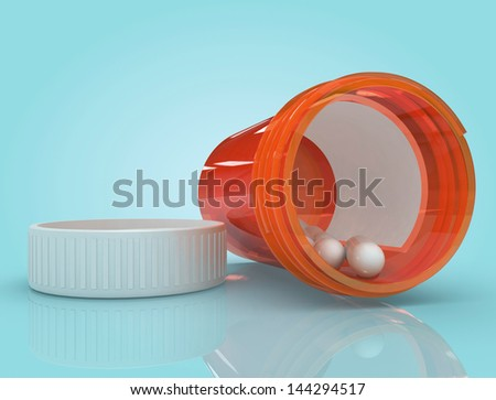 Pill Bottle Tipped Over - stock photo