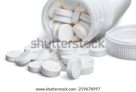 Pill, Bottle, White. - stock photo
