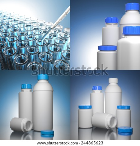 Pill Bottles on Blue Background the Chemical or Medical Concept - stock photo
