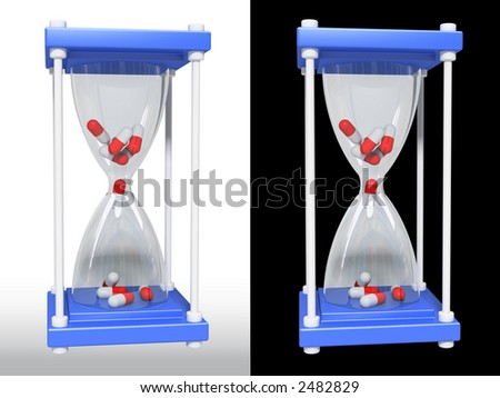 pill medicinal glass (3d, isolated) - stock photo