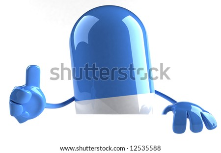 Pill with a blank sign - stock photo