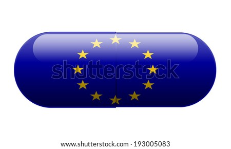 Pill wrapped in a European Union Flag - stock photo